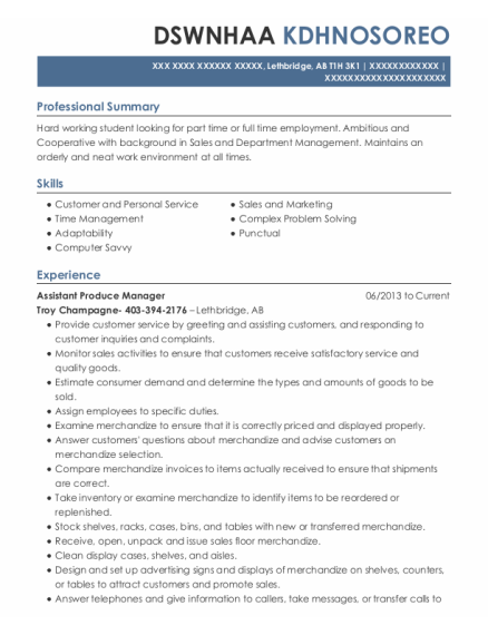 Assistant Produce Manager resume sample AB