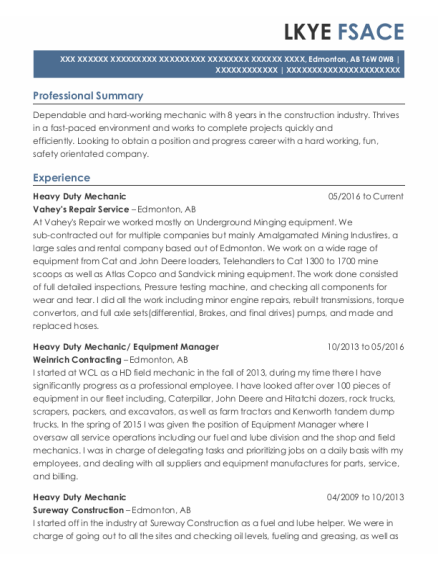 Heavy Duty Mechanic resume format AB