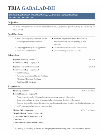 Pharmacy Assistant resume format AB