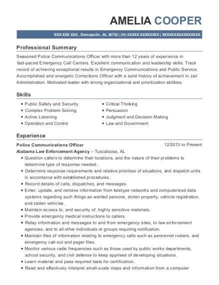 Police Communications Officer resume example Alabama