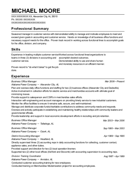 Business Office Manager resume template Alabama