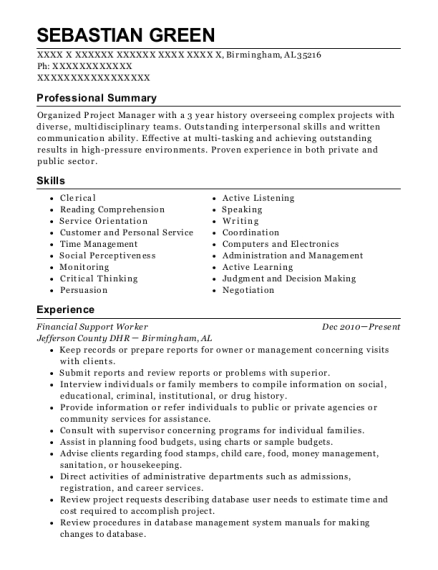 Financial Support Worker resume template Alabama