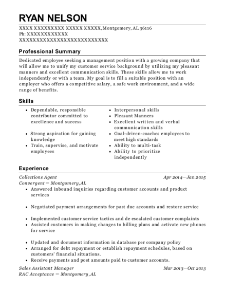 Collections Agent resume format Alabama