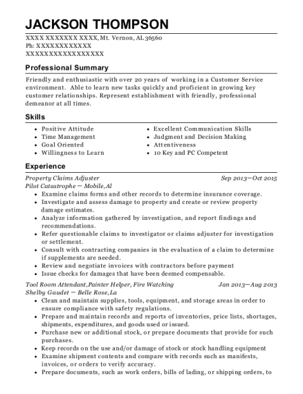 Property Claims Adjuster resume template Alabama