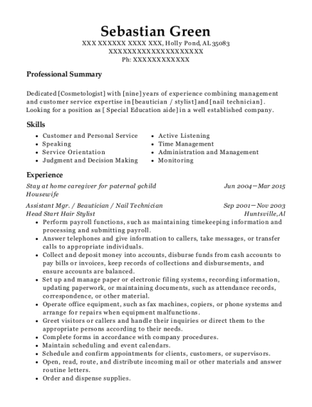 Stay at home caregiver for paternal gchild resume example Alabama
