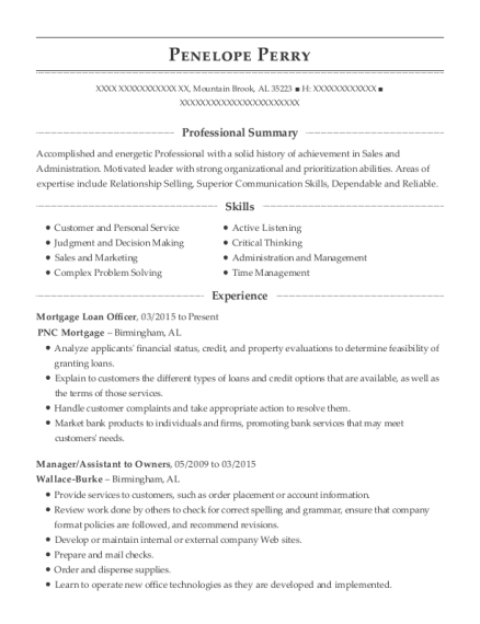 Mortgage Loan Officer resume example Alabama