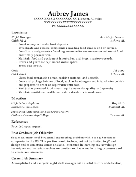 Night Manager resume sample Alabama