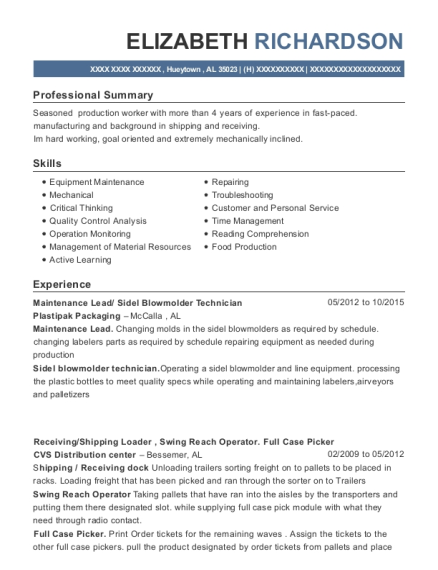 Maintenance Lead resume sample Alabama