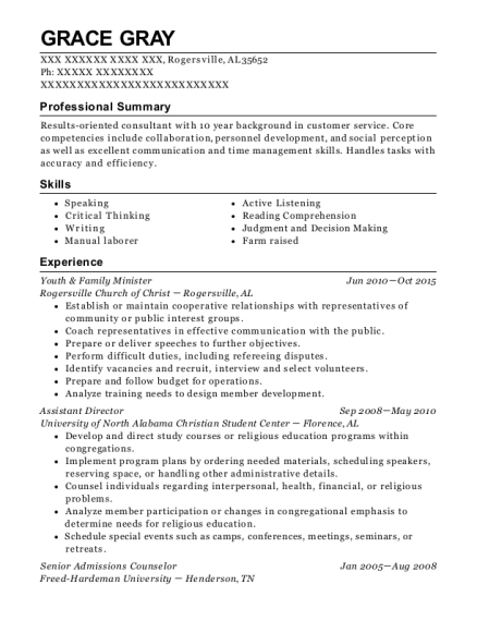 Youth & Family Minister resume template Alabama