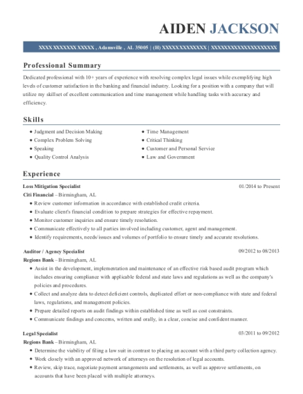 Loss Mitigation Specialist resume example Alabama