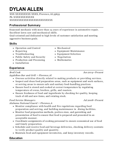 Broil Cook resume sample Alabama