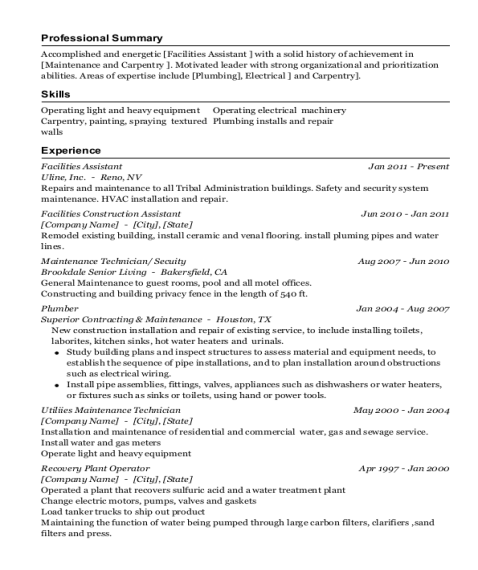 Facilities Assistant resume sample Alabama