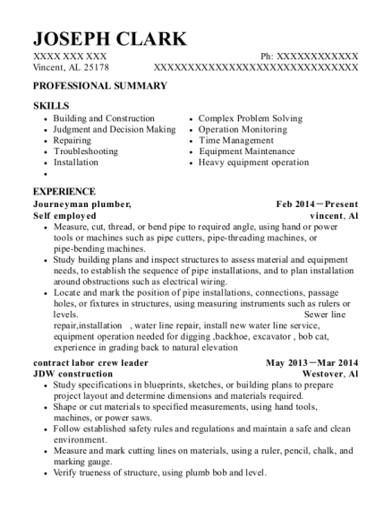 Journeyman plumber resume format Alabama