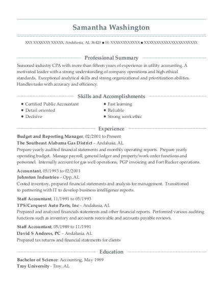 Budget and Reporting Manager resume example Alabama