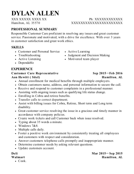 Customer Care Representative resume sample Alabama