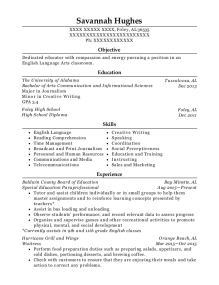 Special Education Paraprofessional resume format Alabama