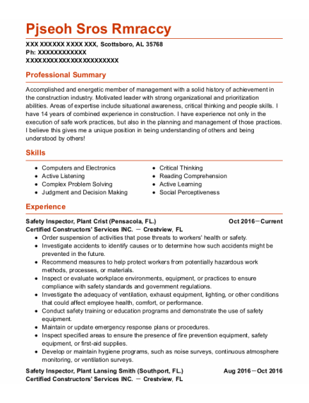Safety Inspector resume example Alabama