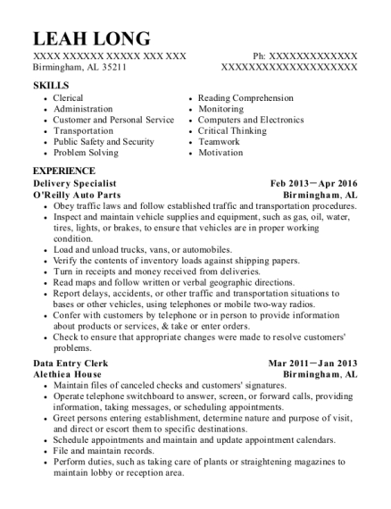 Delivery Specialist resume template Alabama