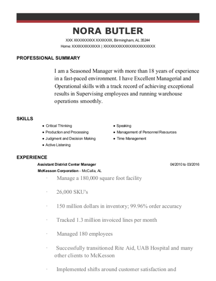 Assistant District Center Manager resume template Alabama