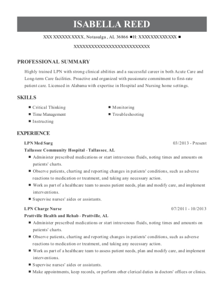 LPN Med Surg resume example Alabama