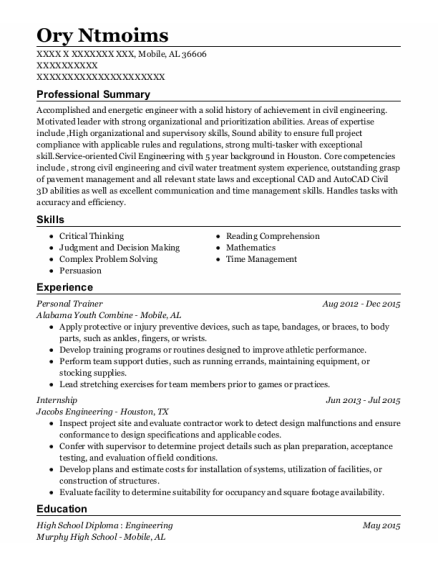Personal Trainer resume template Alabama