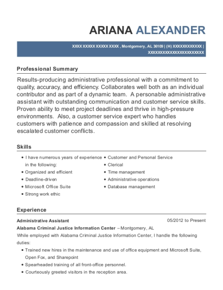 Administrative Assistant resume example Alabama