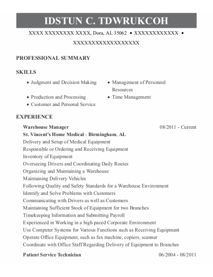 Warehouse Manager resume sample Alabama