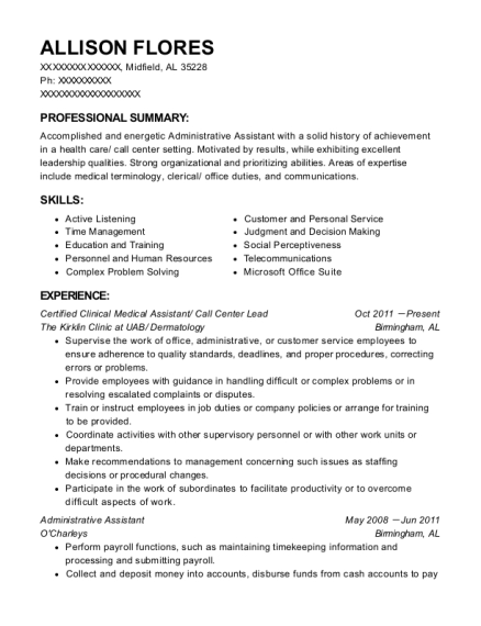 Certified Clinical Medical Assistant resume template Alabama