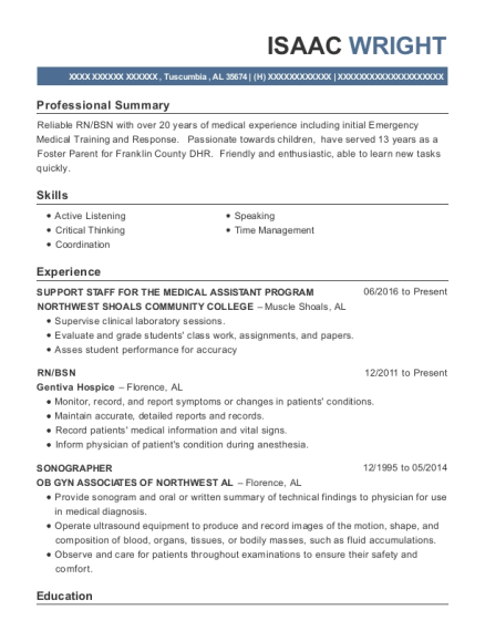 SUPPORT STAFF FOR THE MEDICAL ASSISTANT PROGRAM resume format Alabama