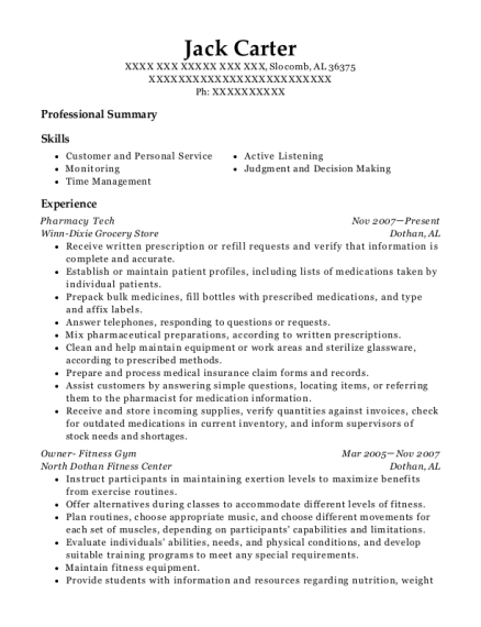Pharmacy Tech resume sample Alabama