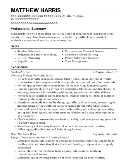 Linehaul Driver resume template Alabama