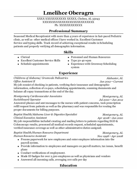 Office Assistant Ii resume template Alabama