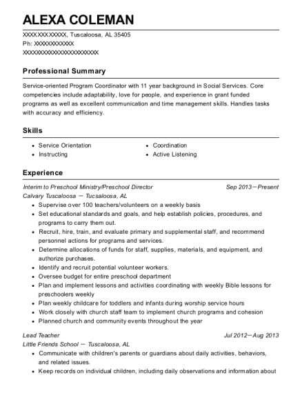 Interim to Preschool Ministry resume sample Alabama