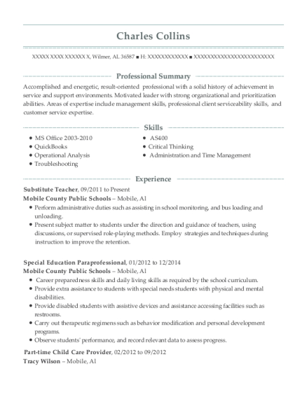 Substitute Teacher resume example Alabama