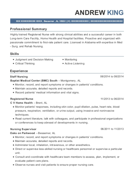 Staff Nursing resume template Alabama