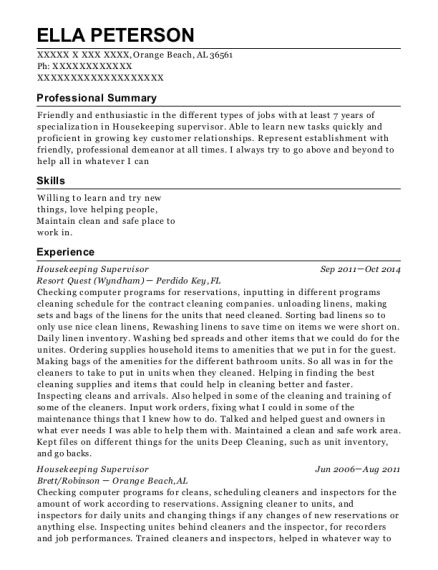 Housekeeping Supervisor resume sample Alabama