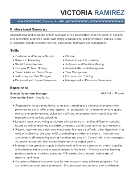 Branch Operations Manager resume format Alabama