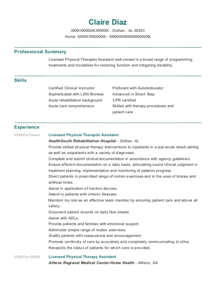 Licensed Physical Therapist Assistant resume example Alabama