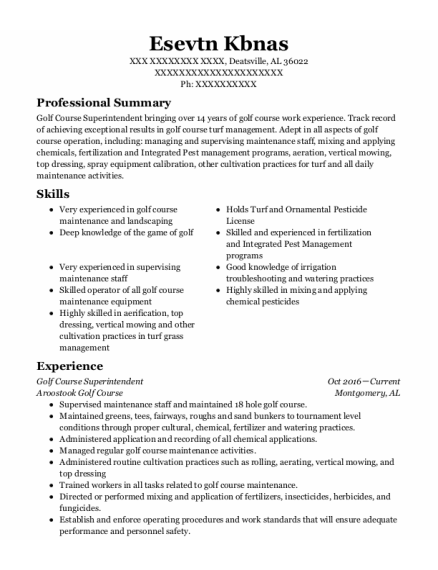 Golf Course Superintendent resume sample Alabama