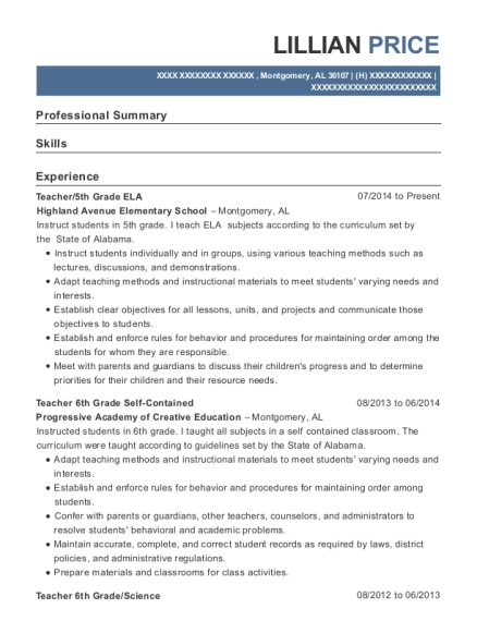 Teacher resume format Alabama