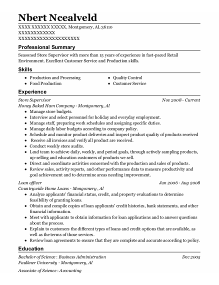 Store Supervisor resume sample Alabama