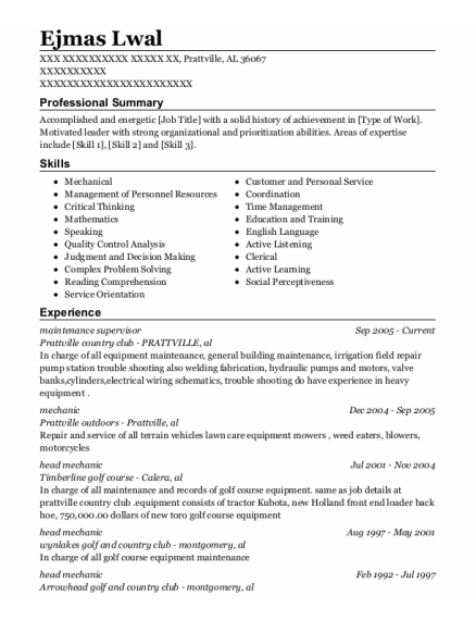 Maintenance Supervisor resume sample Alabama