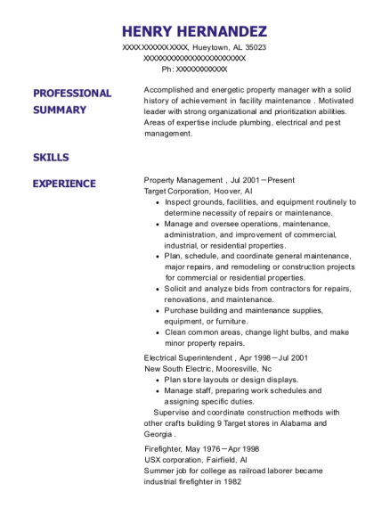 Property Management resume example Alabama