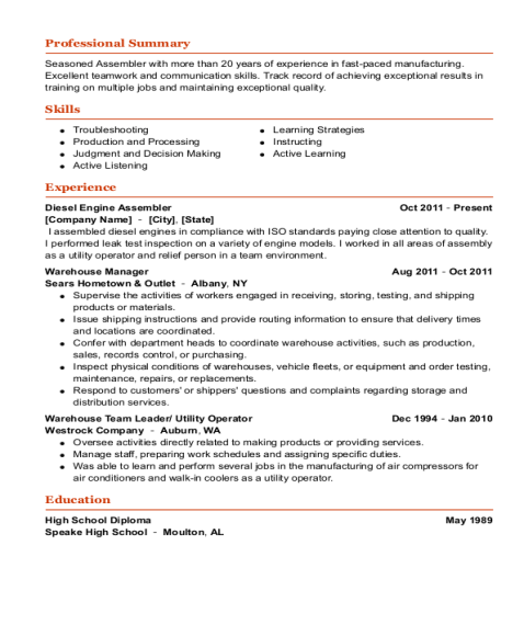 Diesel Engine Assembler resume template Alabama