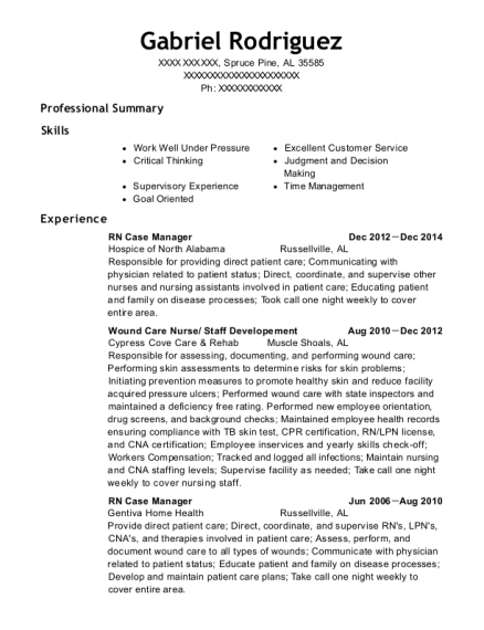 RN Case Manager resume format Alabama
