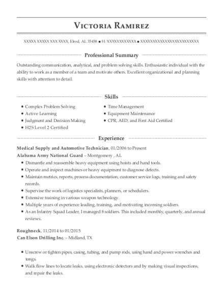 Medical Supply and Automotive Technician resume sample Alabama