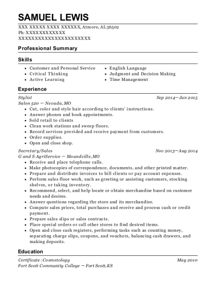 Stylist resume sample Alabama