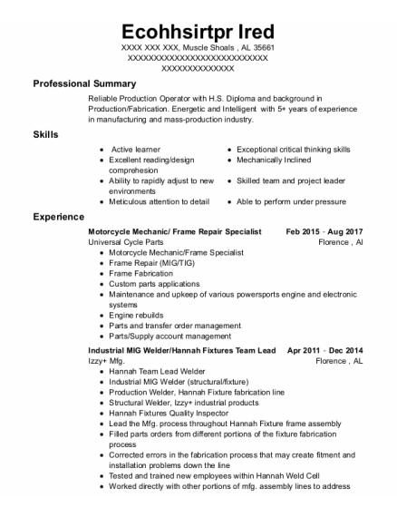 Motorcycle Mechanic resume template Alabama