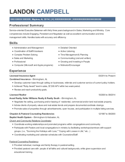 Licensed Insurance Agent resume format Alabama