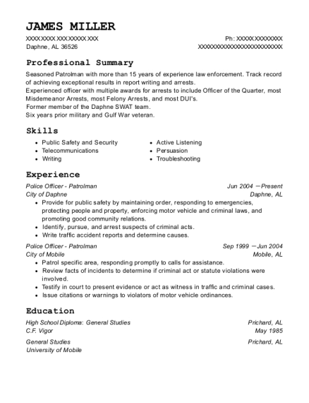 Police Officer Patrolman resume format Alabama